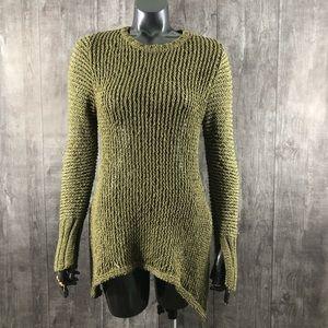 JoFit Olive Green Sharkbite Knit Sweater Small